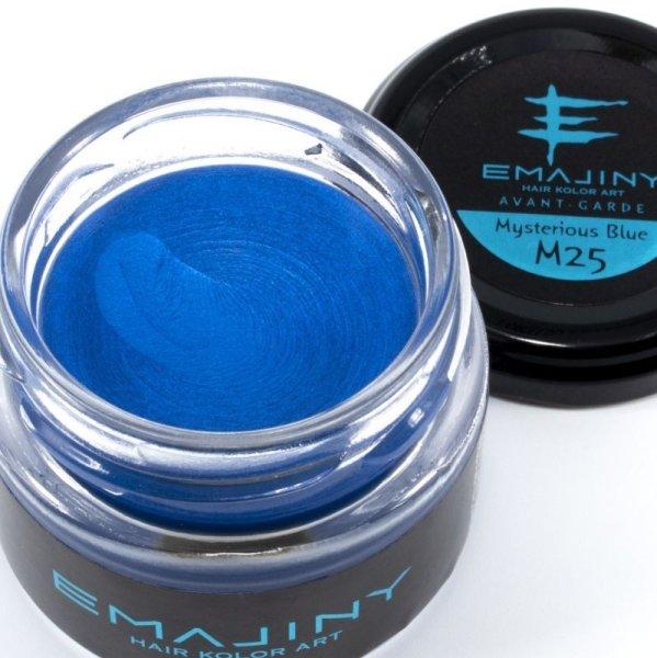 画像1: 【ギフトフェア20%OFF】EMAJINY Mysterious Blue M25 エマジニーミステリアスブルーカラーワックス 青 36g 【日本製】【無香料】【シャンプーでサッと洗い流せる1日派手髪】 (1)